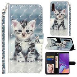 Kitten Cat 3D Leather Phone Holster Wallet Case for Samsung Galaxy A7 (2018) A750