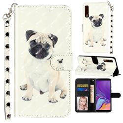 Pug Dog 3D Leather Phone Holster Wallet Case for Samsung Galaxy A7 (2018) A750
