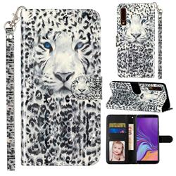 White Leopard 3D Leather Phone Holster Wallet Case for Samsung Galaxy A7 (2018) A750