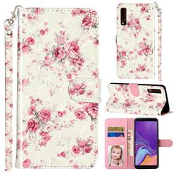 Rambler Rose Flower 3D Leather Phone Holster Wallet Case for Samsung Galaxy A7 (2018) A750
