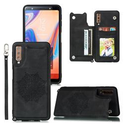 Luxury Mandala Multi-function Magnetic Card Slots Stand Leather Back Cover for Samsung Galaxy A7 (2018) A750 - Black