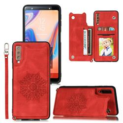 Luxury Mandala Multi-function Magnetic Card Slots Stand Leather Back Cover for Samsung Galaxy A7 (2018) A750 - Red
