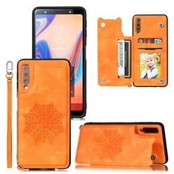 Luxury Mandala Multi-function Magnetic Card Slots Stand Leather Back Cover for Samsung Galaxy A7 (2018) A750 - Yellow