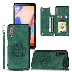 Luxury Mandala Multi-function Magnetic Card Slots Stand Leather Back Cover for Samsung Galaxy A7 (2018) A750 - Green