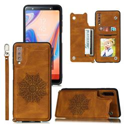 Luxury Mandala Multi-function Magnetic Card Slots Stand Leather Back Cover for Samsung Galaxy A7 (2018) A750 - Brown