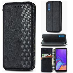 Ultra Slim Fashion Business Card Magnetic Automatic Suction Leather Flip Cover for Samsung Galaxy A7 (2018) A750 - Black