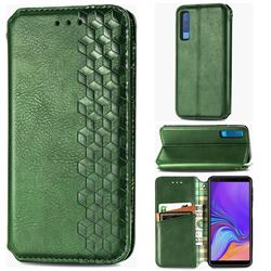 Ultra Slim Fashion Business Card Magnetic Automatic Suction Leather Flip Cover for Samsung Galaxy A7 (2018) A750 - Green