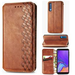 Ultra Slim Fashion Business Card Magnetic Automatic Suction Leather Flip Cover for Samsung Galaxy A7 (2018) A750 - Brown