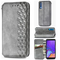 Ultra Slim Fashion Business Card Magnetic Automatic Suction Leather Flip Cover for Samsung Galaxy A7 (2018) A750 - Grey