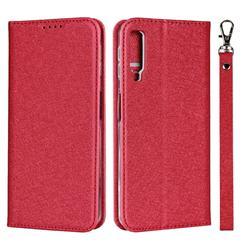 Ultra Slim Magnetic Automatic Suction Silk Lanyard Leather Flip Cover for Samsung Galaxy A7 (2018) A750 - Red
