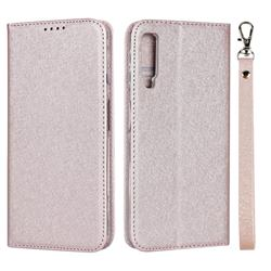 Ultra Slim Magnetic Automatic Suction Silk Lanyard Leather Flip Cover for Samsung Galaxy A7 (2018) A750 - Rose Gold