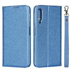 Ultra Slim Magnetic Automatic Suction Silk Lanyard Leather Flip Cover for Samsung Galaxy A7 (2018) A750 - Sky Blue