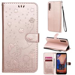 Embossing Bee and Cat Leather Wallet Case for Samsung Galaxy A7 (2018) A750 - Rose Gold