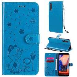 Embossing Bee and Cat Leather Wallet Case for Samsung Galaxy A7 (2018) A750 - Blue