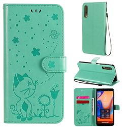 Embossing Bee and Cat Leather Wallet Case for Samsung Galaxy A7 (2018) A750 - Green