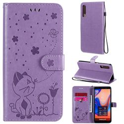 Embossing Bee and Cat Leather Wallet Case for Samsung Galaxy A7 (2018) A750 - Purple