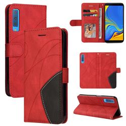 Luxury Two-color Stitching Leather Wallet Case Cover for Samsung Galaxy A7 (2018) A750 - Red