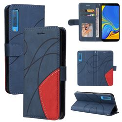 Luxury Two-color Stitching Leather Wallet Case Cover for Samsung Galaxy A7 (2018) A750 - Blue