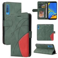 Luxury Two-color Stitching Leather Wallet Case Cover for Samsung Galaxy A7 (2018) A750 - Green