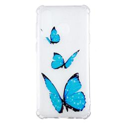 Blue butterfly Anti-fall Clear Varnish Soft TPU Back Cover for Samsung Galaxy A8s