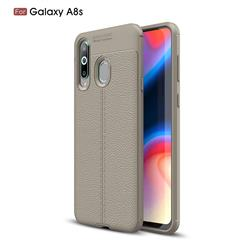Luxury Auto Focus Litchi Texture Silicone TPU Back Cover for Samsung Galaxy A8s - Gray