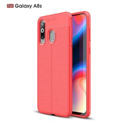 Luxury Auto Focus Litchi Texture Silicone TPU Back Cover for Samsung Galaxy A8s - Red
