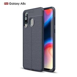 Luxury Auto Focus Litchi Texture Silicone TPU Back Cover for Samsung Galaxy A8s - Dark Blue