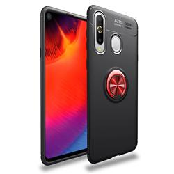 Auto Focus Invisible Ring Holder Soft Phone Case for Samsung Galaxy A8s - Black Red