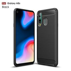 Luxury Carbon Fiber Brushed Wire Drawing Silicone TPU Back Cover for Samsung Galaxy A8s - Black