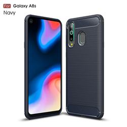 Luxury Carbon Fiber Brushed Wire Drawing Silicone TPU Back Cover for Samsung Galaxy A8s - Navy