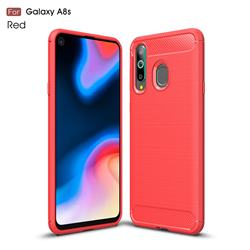 Luxury Carbon Fiber Brushed Wire Drawing Silicone TPU Back Cover for Samsung Galaxy A8s - Red