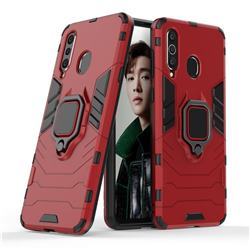 Black Panther Armor Metal Ring Grip Shockproof Dual Layer Rugged Hard Cover for Samsung Galaxy A8s - Red