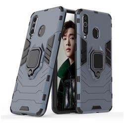 Black Panther Armor Metal Ring Grip Shockproof Dual Layer Rugged Hard Cover for Samsung Galaxy A8s - Blue