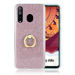 Luxury Soft TPU Glitter Back Ring Cover with 360 Rotate Finger Holder Buckle for Samsung Galaxy A8s - Pink