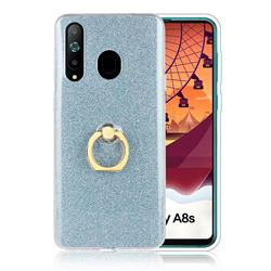 Luxury Soft TPU Glitter Back Ring Cover with 360 Rotate Finger Holder Buckle for Samsung Galaxy A8s - Blue