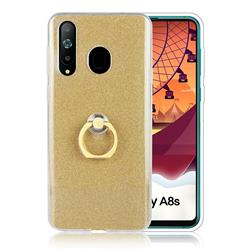 Luxury Soft TPU Glitter Back Ring Cover with 360 Rotate Finger Holder Buckle for Samsung Galaxy A8s - Golden