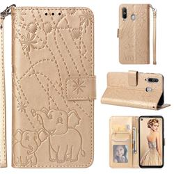 Embossing Fireworks Elephant Leather Wallet Case for Samsung Galaxy A8s - Golden