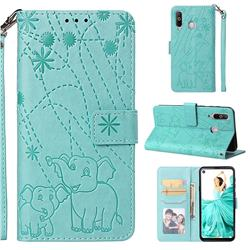 Embossing Fireworks Elephant Leather Wallet Case for Samsung Galaxy A8s - Green