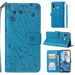 Embossing Fireworks Elephant Leather Wallet Case for Samsung Galaxy A8s - Blue