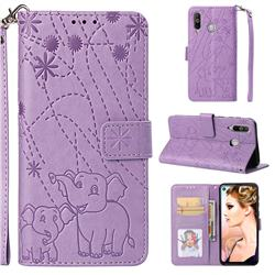 Embossing Fireworks Elephant Leather Wallet Case for Samsung Galaxy A8s - Purple