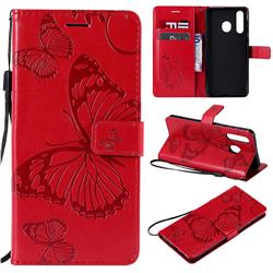 Embossing 3D Butterfly Leather Wallet Case for Samsung Galaxy A8s - Red
