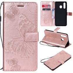 Embossing 3D Butterfly Leather Wallet Case for Samsung Galaxy A8s - Rose Gold