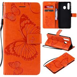 Embossing 3D Butterfly Leather Wallet Case for Samsung Galaxy A8s - Orange