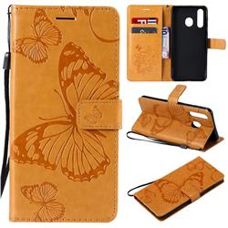 Embossing 3D Butterfly Leather Wallet Case for Samsung Galaxy A8s - Yellow