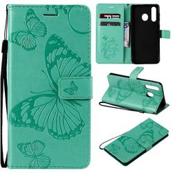 Embossing 3D Butterfly Leather Wallet Case for Samsung Galaxy A8s - Green