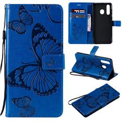 Embossing 3D Butterfly Leather Wallet Case for Samsung Galaxy A8s - Blue
