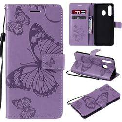 Embossing 3D Butterfly Leather Wallet Case for Samsung Galaxy A8s - Purple