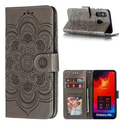 Intricate Embossing Datura Solar Leather Wallet Case for Samsung Galaxy A8s - Gray