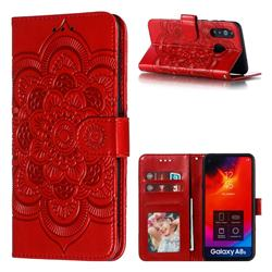 Intricate Embossing Datura Solar Leather Wallet Case for Samsung Galaxy A8s - Red