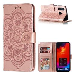Intricate Embossing Datura Solar Leather Wallet Case for Samsung Galaxy A8s - Rose Gold